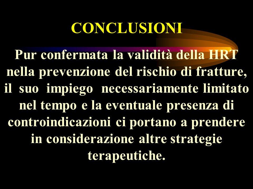 Pur confermata la validità della HRT nella prevenzione del rischio di fratture, il suo impiego necessariamente limitato nel tempo e la eventuale prese