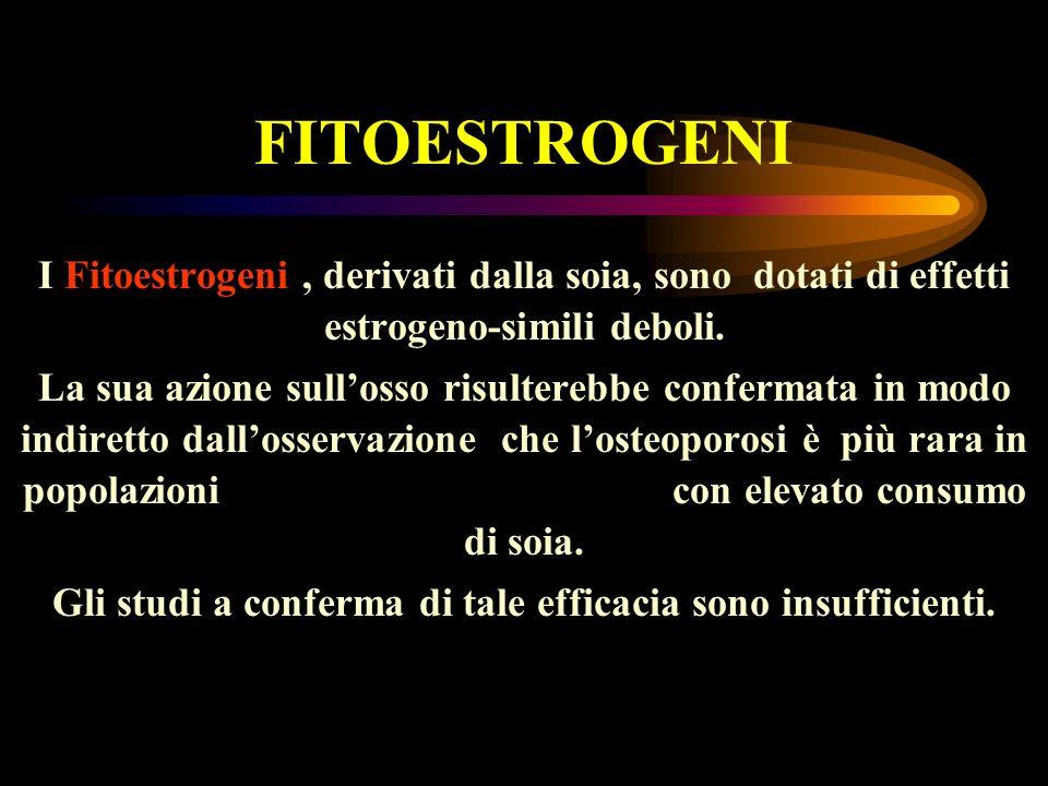 FITOESTROGENI I Fitoestrogeni, derivati dalla soia, sono dotati di effetti estrogeno-simili deboli. La sua azione sullosso risulterebbe confermata in