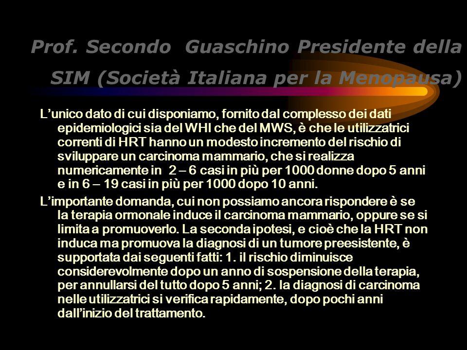 Prof. Secondo Guaschino Presidente della SIM (Società Italiana per la Menopausa) Lunico dato di cui disponiamo, fornito dal complesso dei dati epidemi