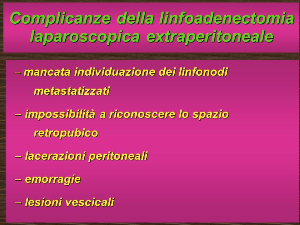 Complicanze della linfoadenectomia laparoscopica extraperitoneale – mancata individuazione dei linfonodi metastatizzati – impossibilità a riconoscere