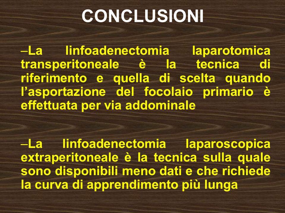 CONCLUSIONI –La linfoadenectomia laparotomica transperitoneale è la tecnica di riferimento e quella di scelta quando lasportazione del focolaio primar