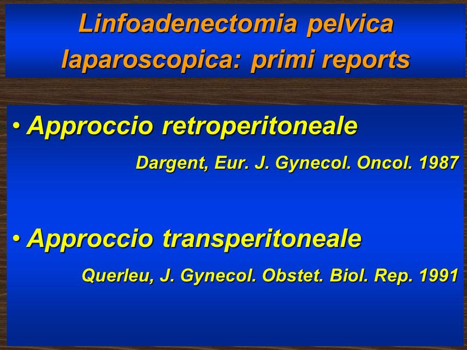 Linfoadenectomia pelvica laparoscopica: primi reports Approccio retroperitonealeApproccio retroperitoneale Dargent, Eur. J. Gynecol. Oncol. 1987 Darge