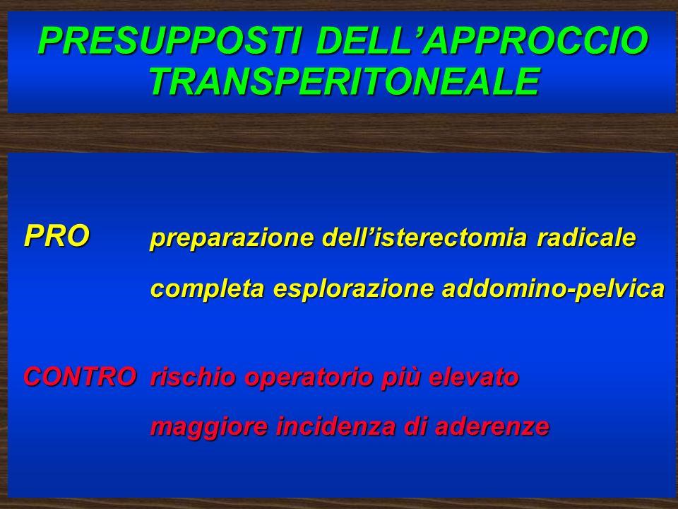 PRESUPPOSTI DELLAPPROCCIO TRANSPERITONEALE PRO preparazione dellisterectomia radicale PRO preparazione dellisterectomia radicale completa esplorazione