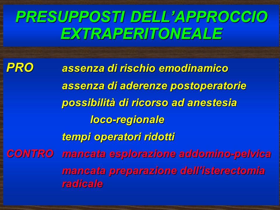 PRESUPPOSTI DELLAPPROCCIO EXTRAPERITONEALE PRO assenza di rischio emodinamico assenza di aderenze postoperatorie possibilità di ricorso ad anestesia l