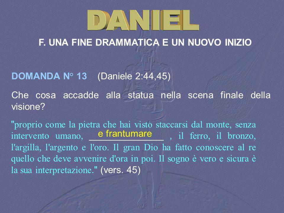 F. UNA FINE DRAMMATICA E UN NUOVO INIZIO DOMANDA N° 13 (Daniele 2:44,45) Che cosa accadde alla statua nella scena finale della visione?