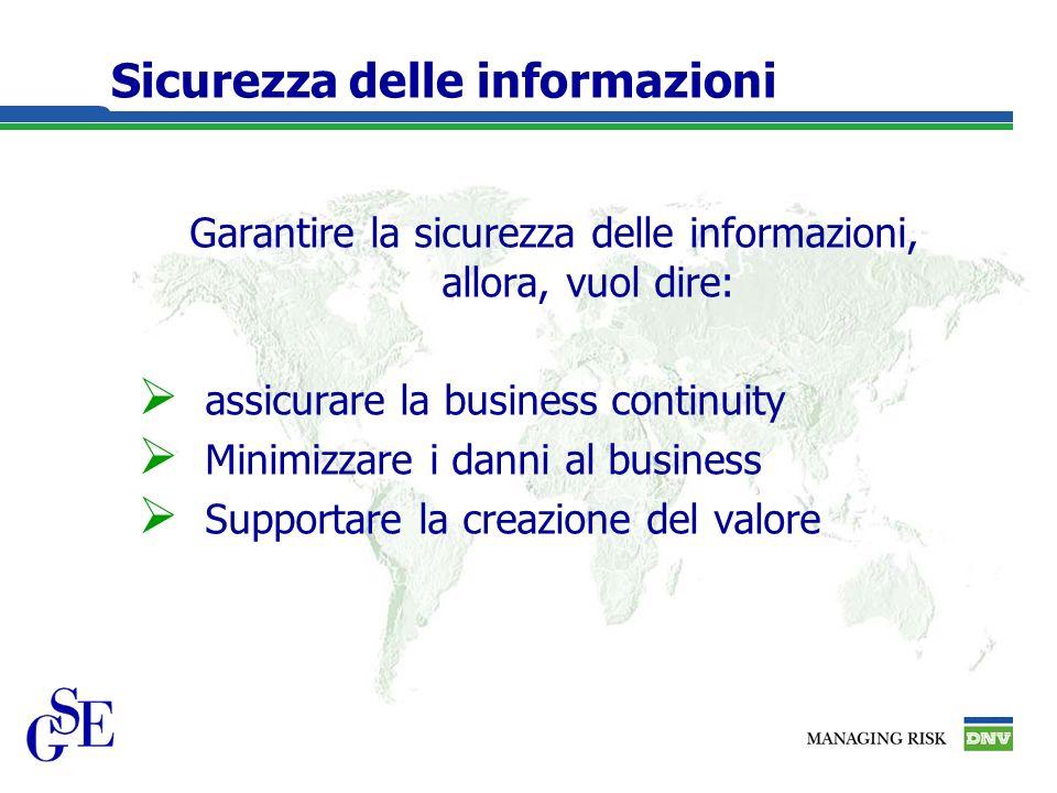 Sicurezza delle informazioni Garantire la sicurezza delle informazioni, allora, vuol dire: assicurare la business continuity Minimizzare i danni al business Supportare la creazione del valore