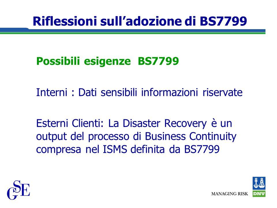Riflessioni sulladozione di BS7799 Possibili esigenze BS7799 Interni : Dati sensibili informazioni riservate Esterni Clienti: La Disaster Recovery è un output del processo di Business Continuity compresa nel ISMS definita da BS7799