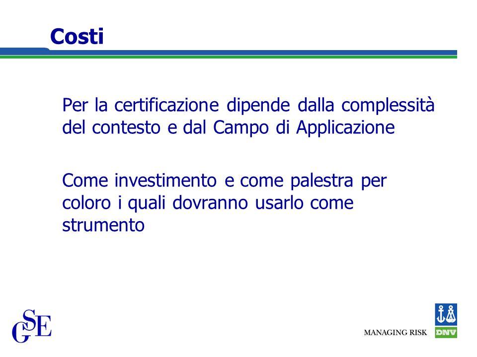 Costi Per la certificazione dipende dalla complessità del contesto e dal Campo di Applicazione Come investimento e come palestra per coloro i quali dovranno usarlo come strumento