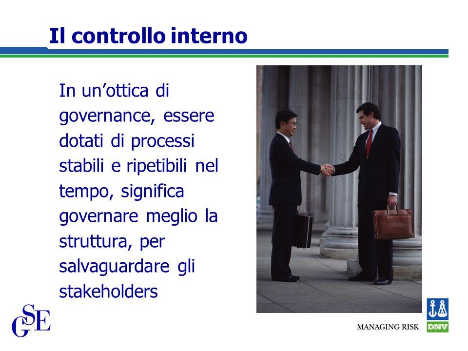 Il controllo interno In unottica di governance, essere dotati di processi stabili e ripetibili nel tempo, significa governare meglio la struttura, per salvaguardare gli stakeholders