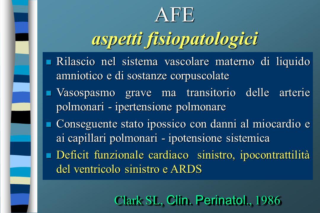 AFE aspetti fisiopatologici n Rilascio nel sistema vascolare materno di liquido amniotico e di sostanze corpuscolate n Vasospasmo grave ma transitorio