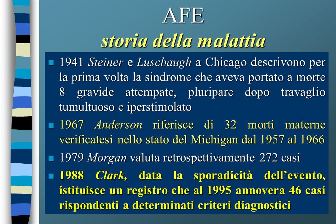 AFE storia della malattia n 1941 Steiner e Luscbaugh a Chicago descrivono per la prima volta la sindrome che aveva portato a morte 8 gravide attempate, pluripare dopo travaglio tumultuoso e iperstimolato n 1967 Anderson riferisce di 32 morti materne verificatesi nello stato del Michigan dal 1957 al 1966 n 1979 Morgan valuta retrospettivamente 272 casi n 1988 Clark, data la sporadicità dellevento, istituisce un registro che al 1995 annovera 46 casi rispondenti a determinati criteri diagnostici