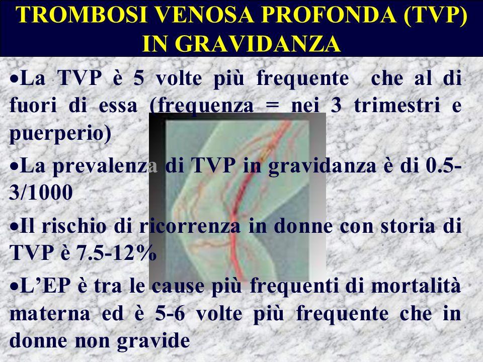 TROMBOSI VENOSA PROFONDA (TVP) IN GRAVIDANZA La TVP è 5 volte più frequente che al di fuori di essa (frequenza = nei 3 trimestri e puerperio) La preva