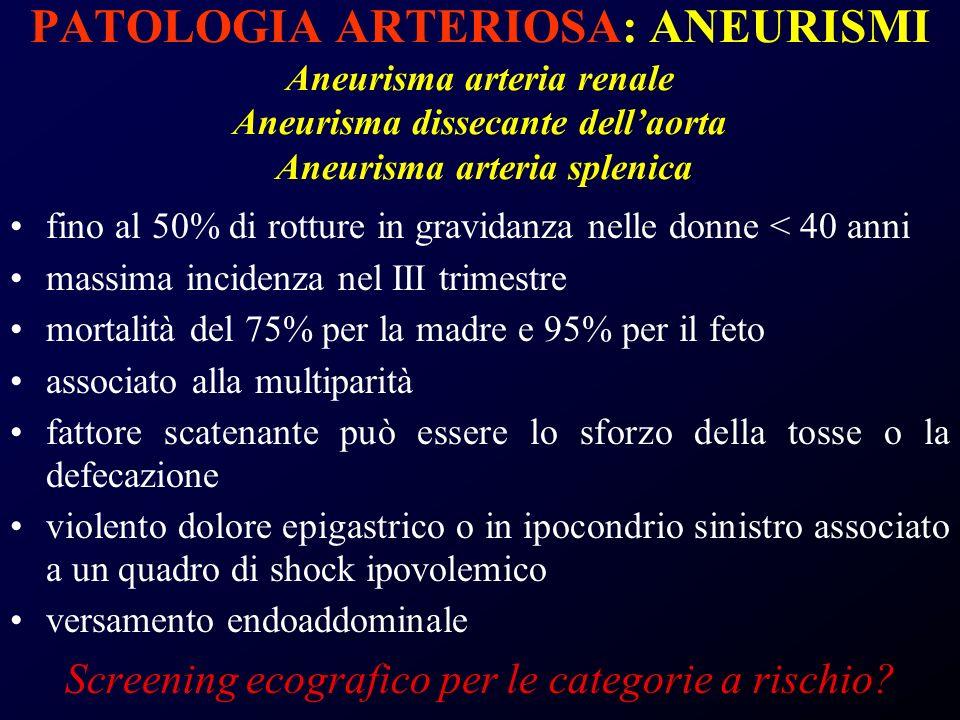 PATOLOGIA ARTERIOSA: ANEURISMI Aneurisma arteria renale Aneurisma dissecante dellaorta Aneurisma arteria splenica fino al 50% di rotture in gravidanza