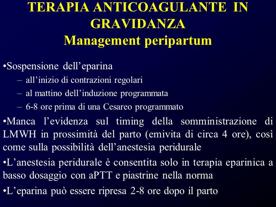 TERAPIA ANTICOAGULANTE IN GRAVIDANZA Management peripartum Sospensione delleparina –allinizio di contrazioni regolari –al mattino dellinduzione progra