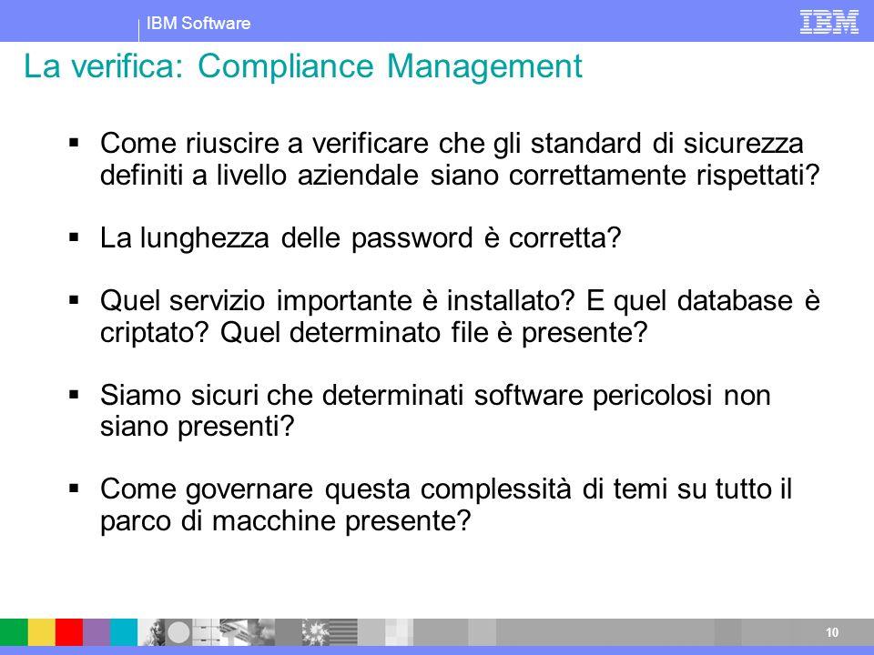 IBM Software 10 Come riuscire a verificare che gli standard di sicurezza definiti a livello aziendale siano correttamente rispettati? La lunghezza del