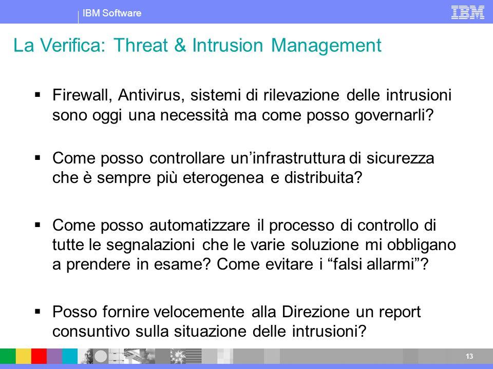 IBM Software 13 Firewall, Antivirus, sistemi di rilevazione delle intrusioni sono oggi una necessità ma come posso governarli? Come posso controllare