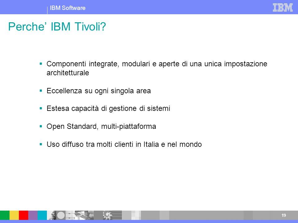 IBM Software 19 Perche IBM Tivoli? Componenti integrate, modulari e aperte di una unica impostazione architetturale Eccellenza su ogni singola area Es