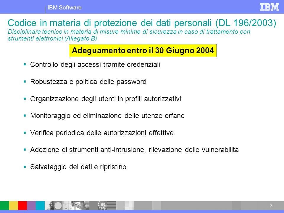 IBM Software 3 Codice in materia di protezione dei dati personali (DL 196/2003) Disciplinare tecnico in materia di misure minime di sicurezza in caso