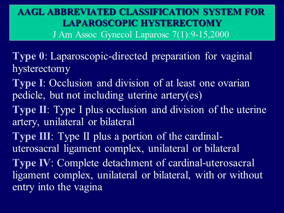 AAGL ABBREVIATED CLASSIFICATION SYSTEM FOR LAPAROSCOPIC HYSTERECTOMY AAGL ABBREVIATED CLASSIFICATION SYSTEM FOR LAPAROSCOPIC HYSTERECTOMY J Am Assoc G