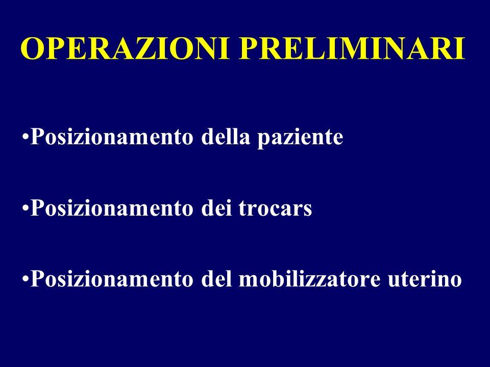 OPERAZIONI PRELIMINARI Posizionamento della paziente Posizionamento dei trocars Posizionamento del mobilizzatore uterino