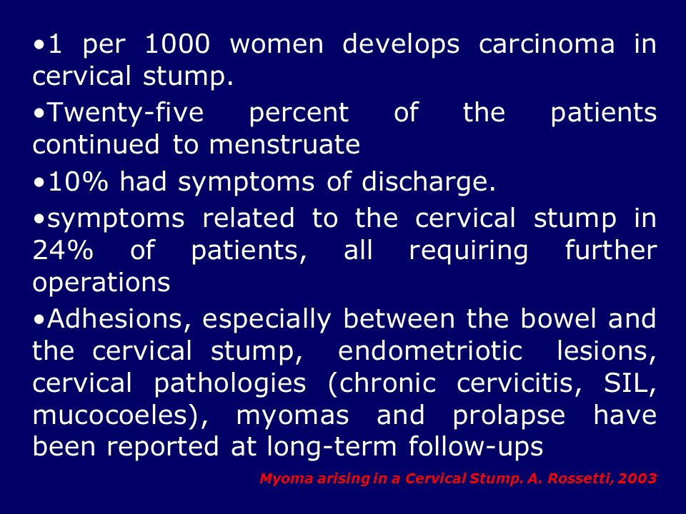 1 per 1000 women develops carcinoma in cervical stump. Twenty-five percent of the patients continued to menstruate 10% had symptoms of discharge. symp