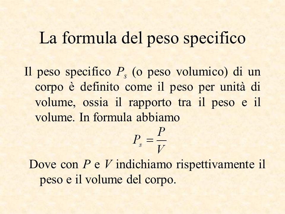 La formula del peso specifico Il peso specifico P s (o peso volumico) di un corpo è definito come il peso per unità di volume, ossia il rapporto tra i