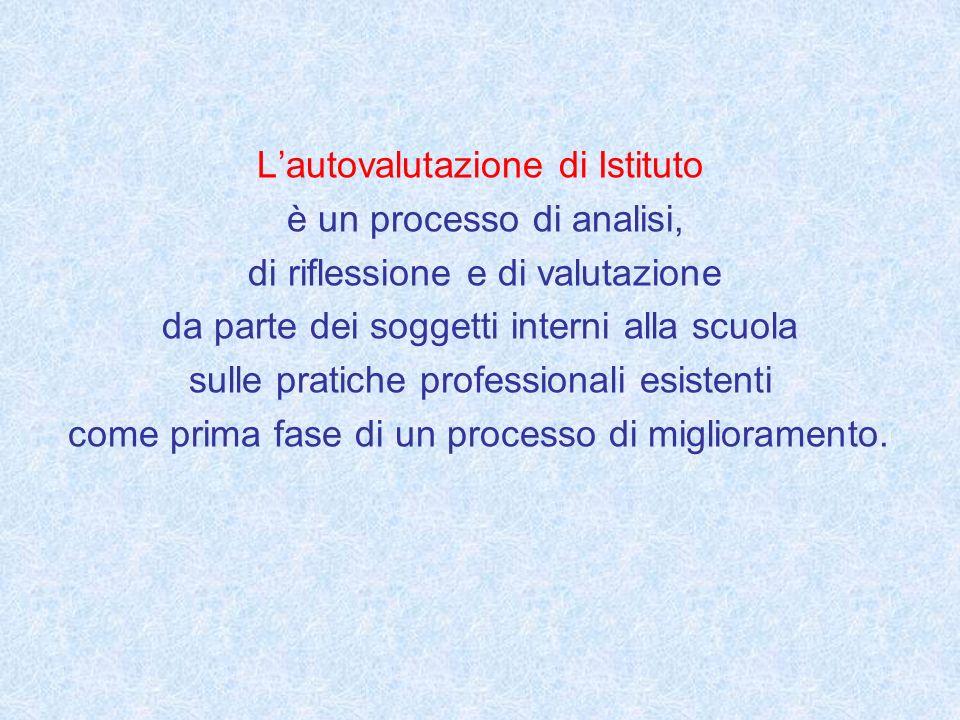 Lautovalutazione di Istituto è un processo di analisi, di riflessione e di valutazione da parte dei soggetti interni alla scuola sulle pratiche profes