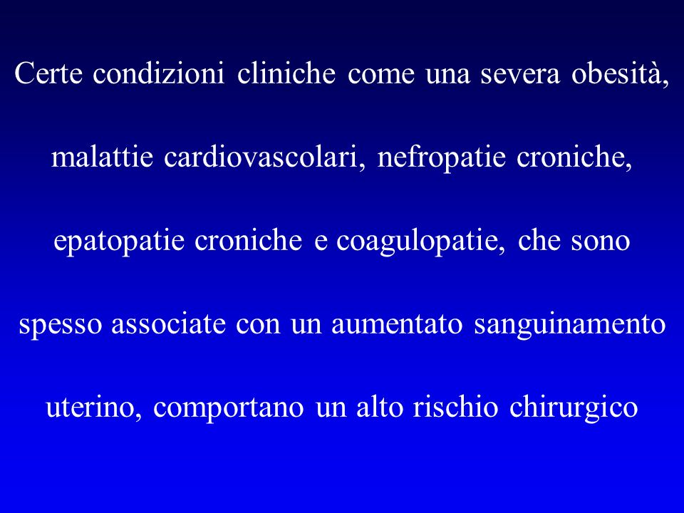 COMPLICATIONS OF HYSTEROSCOPY: A PROSPECTIVE, MULTICENTER STUDY Frank Willem Jansen, Obstet Gynecol, 2000 13,600 isteroscopie Procedura Complicanze (%) Lisi di sinechie 4.48 Ablazione endometriale 0.81 Miomectomia 0.75 Polipectomia 0.38