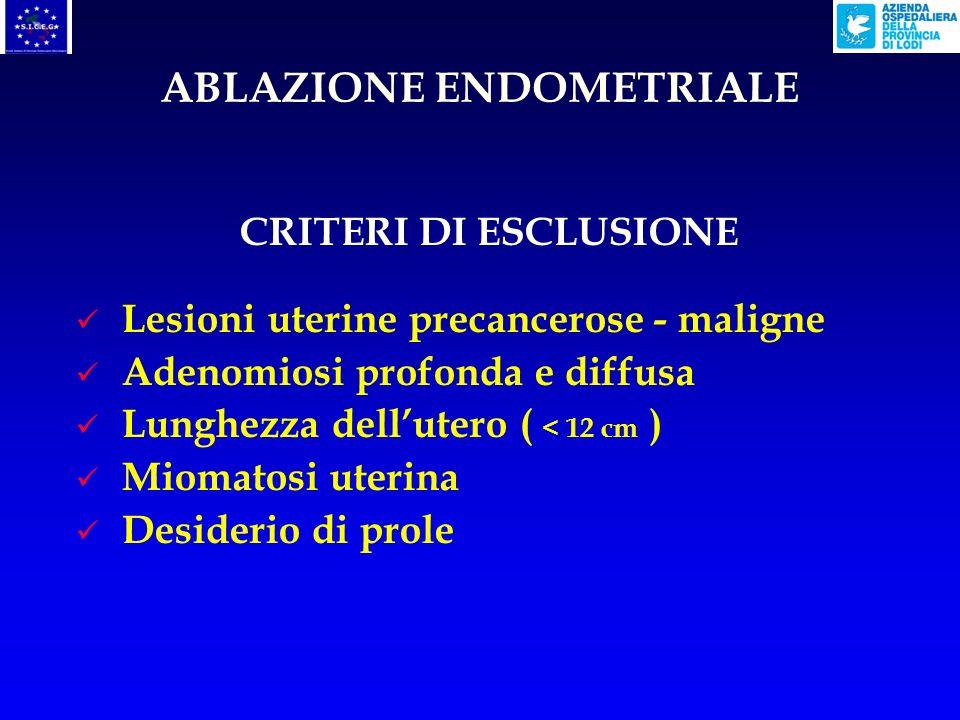 CRITERI DI ESCLUSIONE Lesioni uterine precancerose - maligne Adenomiosi profonda e diffusa Lunghezza dellutero ( < 12 cm ) Miomatosi uterina Desiderio di prole ABLAZIONE ENDOMETRIALE