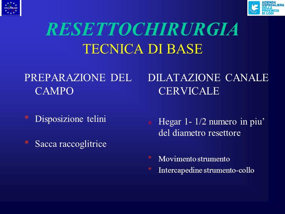 RESETTOCHIRURGIA TECNICA DI BASE PREPARAZIONE DELLA PAZIENTE *No preparazione intestinale *No catetere *Profilassi antibiotica ? POSIZIONAMENTO DELLA