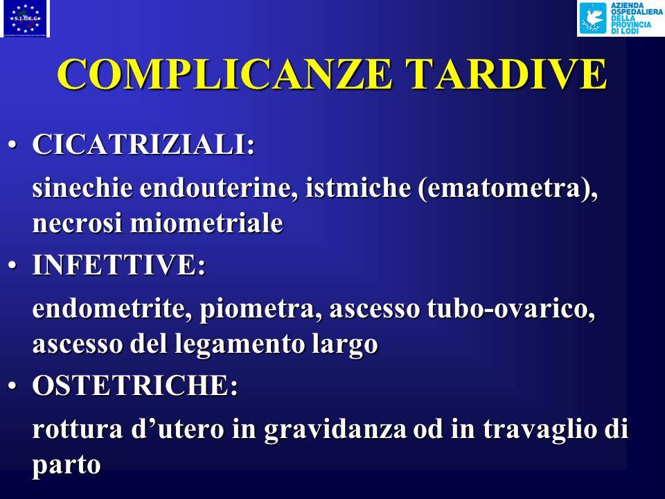 COMPLICANZE IMMEDIATE MECCANICHE:MECCANICHE: lacerazioni cervicali perforazione o penetrazione uterina ELETTROCHIRURGICHE:ELETTROCHIRURGICHE: perforaz