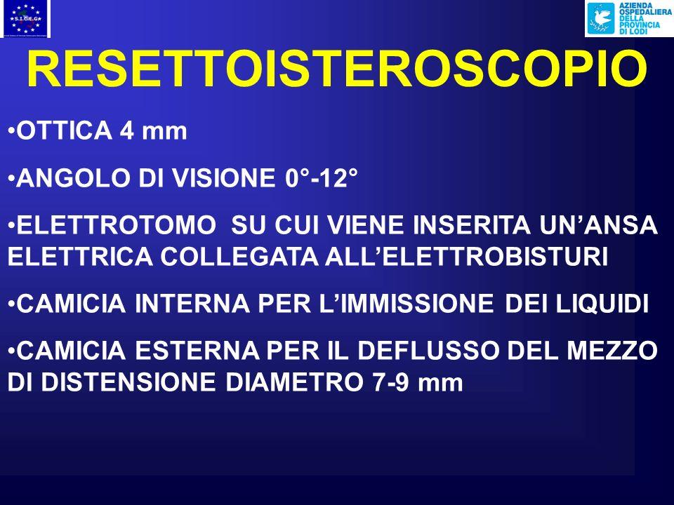 RESETTOISTEROSCOPIO OTTICA 4 mm ANGOLO DI VISIONE 0°-12° ELETTROTOMO SU CUI VIENE INSERITA UNANSA ELETTRICA COLLEGATA ALLELETTROBISTURI CAMICIA INTERNA PER LIMMISSIONE DEI LIQUIDI CAMICIA ESTERNA PER IL DEFLUSSO DEL MEZZO DI DISTENSIONE DIAMETRO 7-9 mm