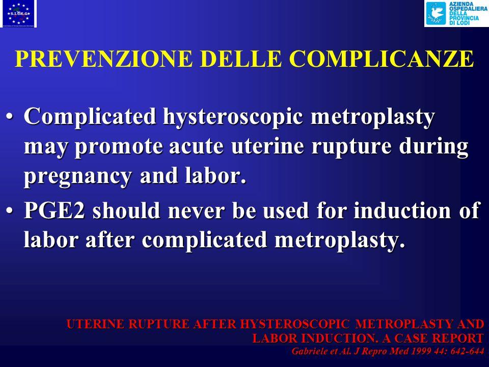 PREVENZIONE DELLE COMPLICANZE Tecniche di ablazione endometriale di II° generazione ELETTRORESEZIONE BIPOLARE RADIO-FREQUENZA CRIOTERAPIA MICROONDE PO