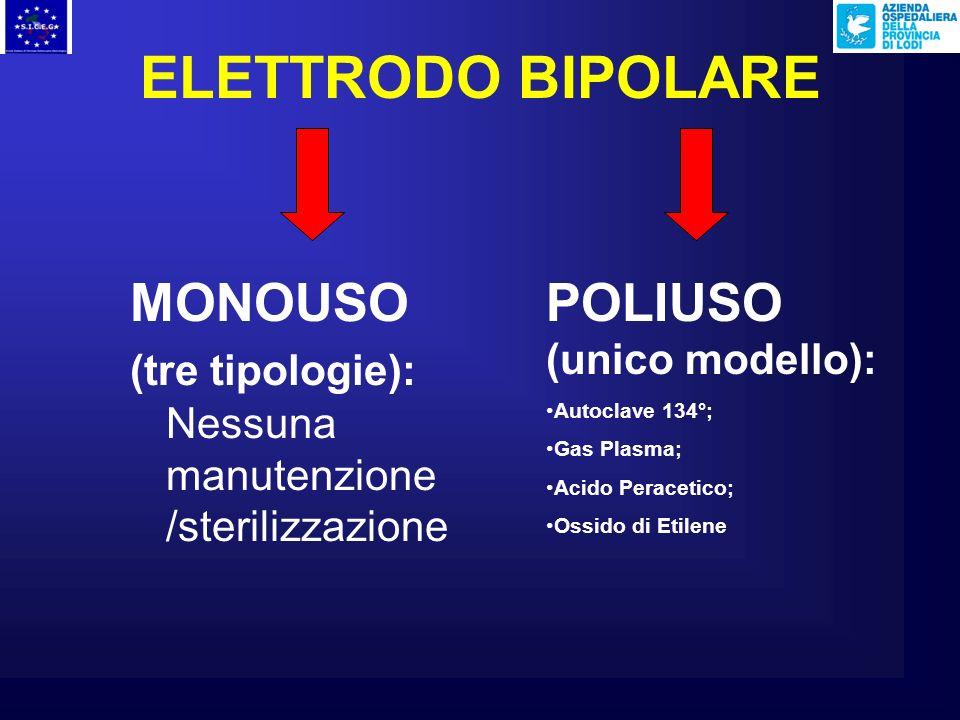 ELETTRODO BIPOLARE MONOUSO (tre tipologie): Nessuna manutenzione /sterilizzazione POLIUSO (unico modello): Autoclave 134°; Gas Plasma; Acido Peracetico; Ossido di Etilene