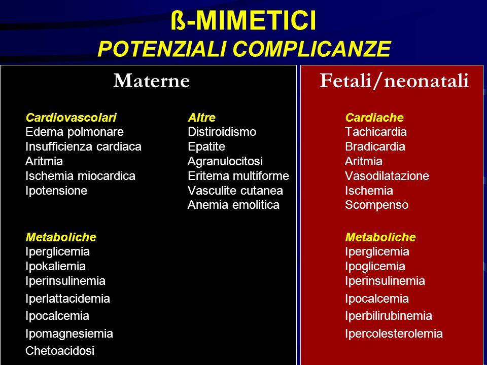 ß-MIMETICI POTENZIALI COMPLICANZE Materne Fetali/neonatali CardiovascolariAltreCardiache Edema polmonare DistiroidismoTachicardia Insufficienza cardia