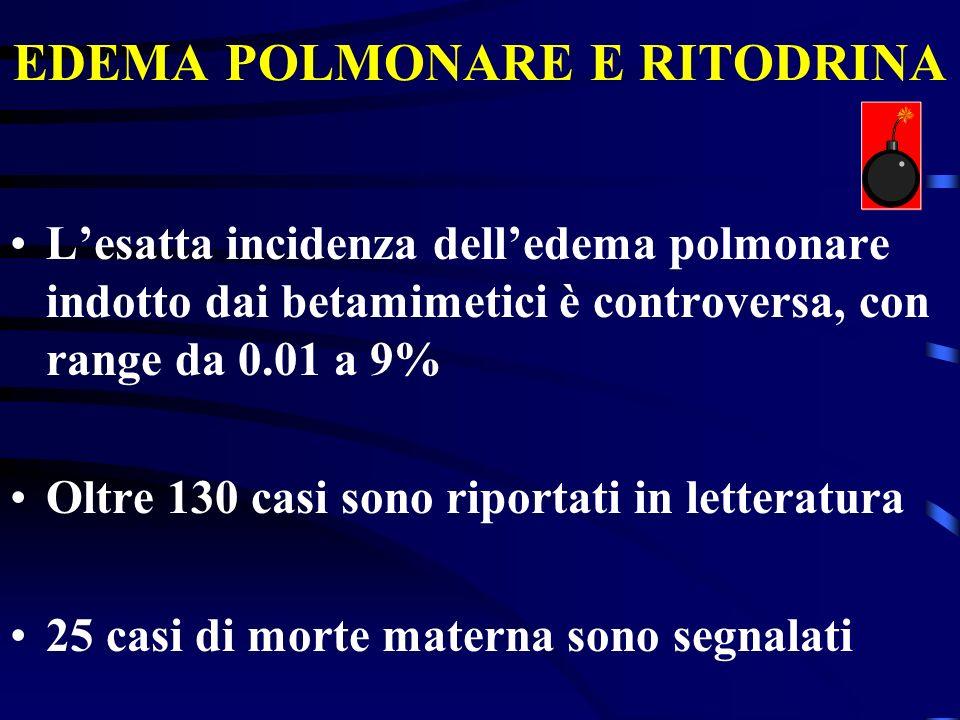 EDEMA POLMONARE E RITODRINA Lesatta incidenza delledema polmonare indotto dai betamimetici è controversa, con range da 0.01 a 9% Oltre 130 casi sono r