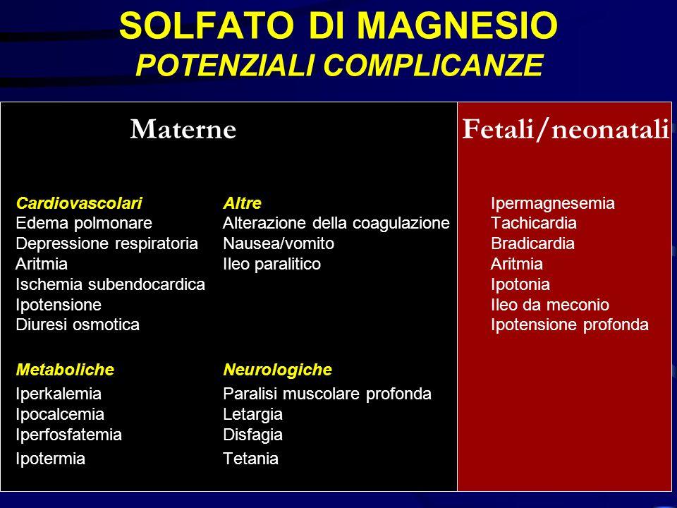 SOLFATO DI MAGNESIO POTENZIALI COMPLICANZE Materne Fetali/neonatali CardiovascolariAltreIpermagnesemia Edema polmonareAlterazione della coagulazioneTa