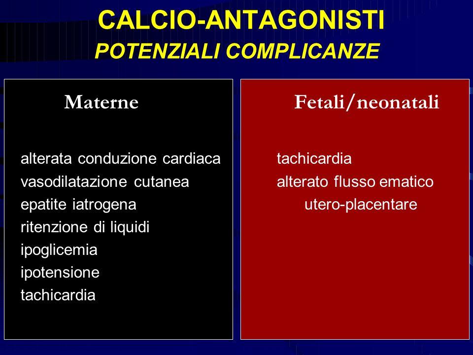 CALCIO-ANTAGONISTI POTENZIALI COMPLICANZE Materne Fetali/neonatali alterata conduzione cardiacatachicardia vasodilatazione cutaneaalterato flusso emat