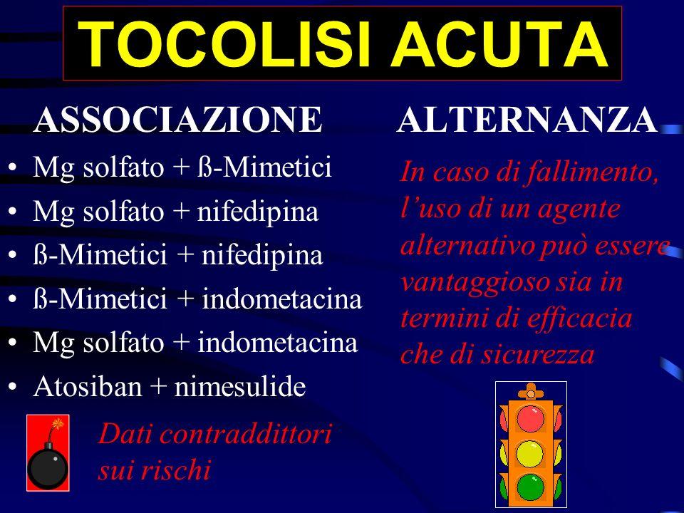 TOCOLISI ACUTA ASSOCIAZIONEALTERNANZA Mg solfato + ß-Mimetici Mg solfato + nifedipina ß-Mimetici + nifedipina ß-Mimetici + indometacina Mg solfato + i