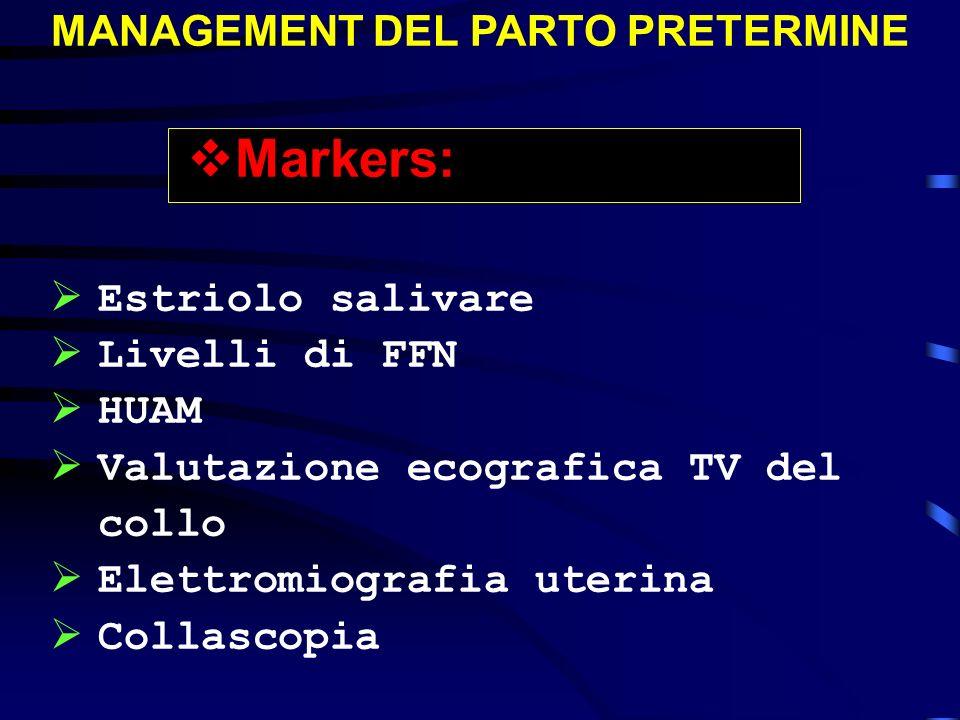 MANAGEMENT DEL PARTO PRETERMINE Markers: Estriolo salivare Livelli di FFN HUAM Valutazione ecografica TV del collo Elettromiografia uterina Collascopi