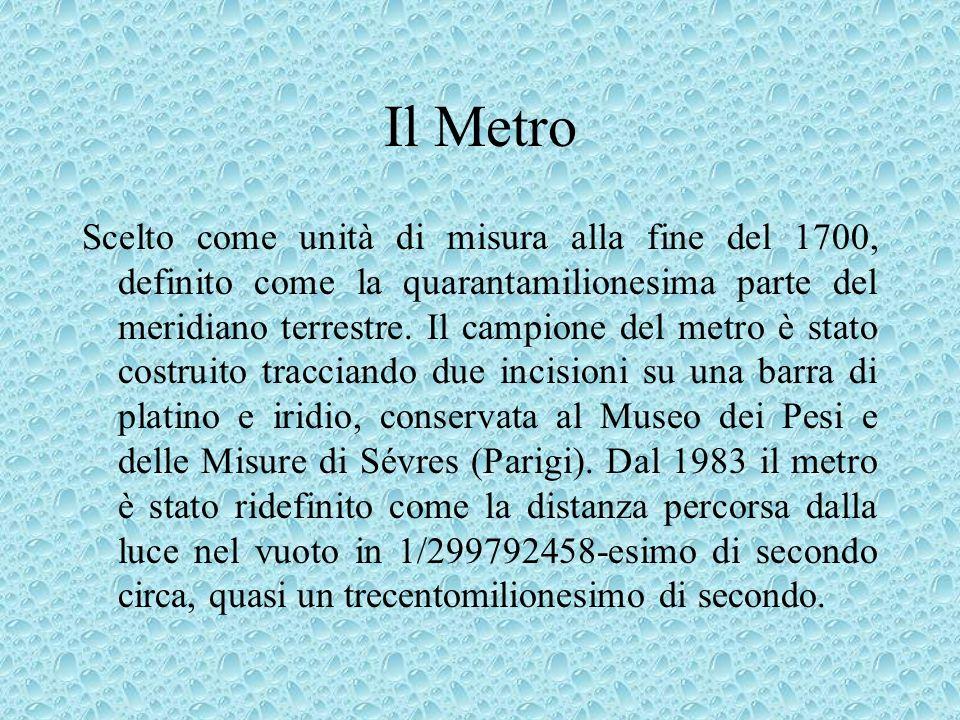 Il Metro Scelto come unità di misura alla fine del 1700, definito come la quarantamilionesima parte del meridiano terrestre. Il campione del metro è s