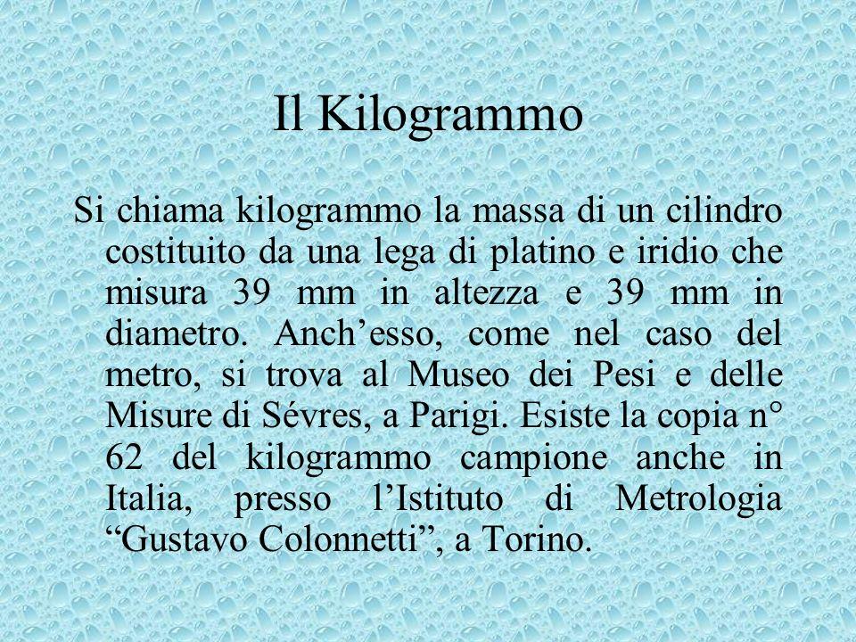 Il Kilogrammo Si chiama kilogrammo la massa di un cilindro costituito da una lega di platino e iridio che misura 39 mm in altezza e 39 mm in diametro.