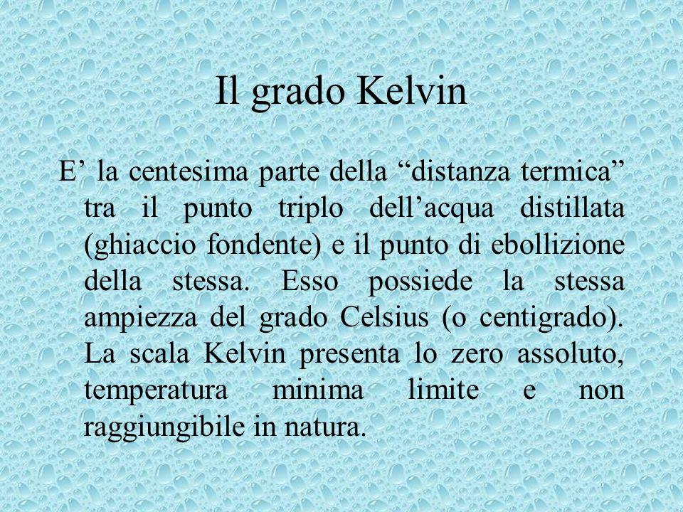 Il grado Kelvin E la centesima parte della distanza termica tra il punto triplo dellacqua distillata (ghiaccio fondente) e il punto di ebollizione del