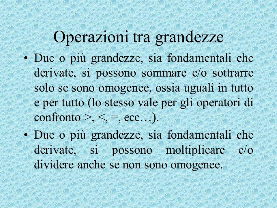 Operazioni tra grandezze Due o più grandezze, sia fondamentali che derivate, si possono sommare e/o sottrarre solo se sono omogenee, ossia uguali in t