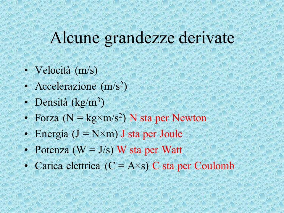 Alcune grandezze derivate Velocità (m/s) Accelerazione (m/s 2 ) Densità (kg/m 3 ) Forza (N = kg×m/s 2 ) N sta per Newton Energia (J = N×m) J sta per J