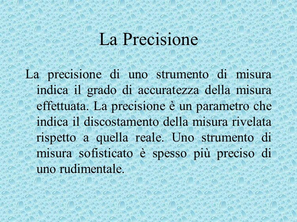 La Precisione La precisione di uno strumento di misura indica il grado di accuratezza della misura effettuata. La precisione è un parametro che indica