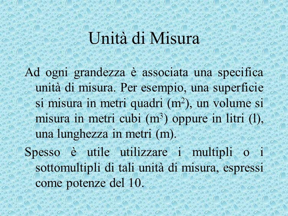 Unità di Misura Ad ogni grandezza è associata una specifica unità di misura. Per esempio, una superficie si misura in metri quadri (m 2 ), un volume s