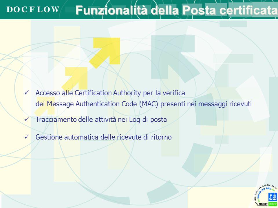 Funzionalità della Posta certificata Accesso alle Certification Authority per la verifica dei Message Authentication Code (MAC) presenti nei messaggi