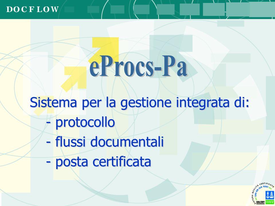Sistema per la gestione integrata di: - protocollo - flussi documentali - posta certificata