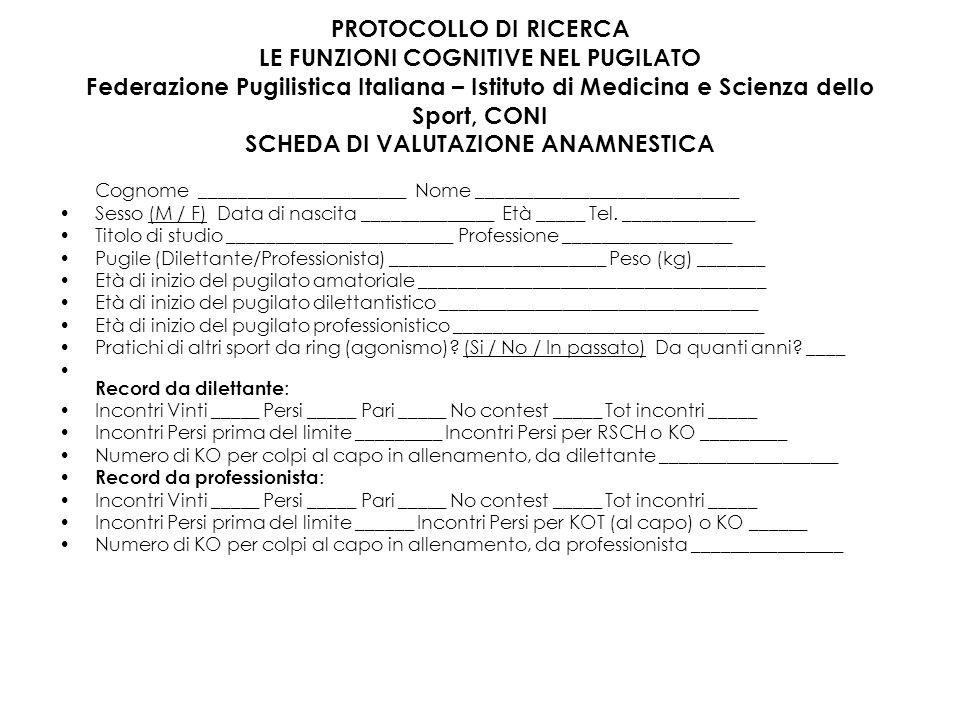 PROTOCOLLO DI RICERCA LE FUNZIONI COGNITIVE NEL PUGILATO Federazione Pugilistica Italiana – Istituto di Medicina e Scienza dello Sport, CONI SCHEDA DI